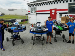 Kevin Lanyi (83), Elijah Skaggs and Will Holtz (43) conclude a winning Champions Cup event at G&J Kartway